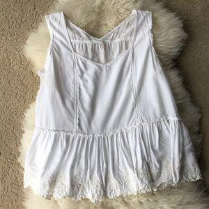 FREE PEOPLE white sleeveless blouse, L